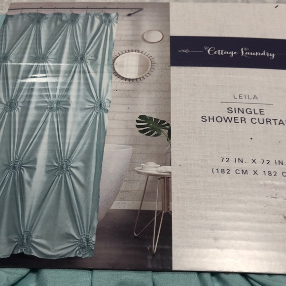 Tiffany Blue Tufted Shower Curtain